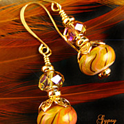 Lamp-work Earrings with Gold Accents and Crystals