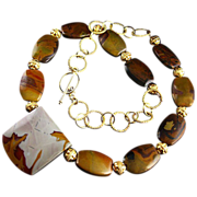 SALE Rich Jasper Necklace with Gold Accents