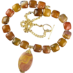Warm Earth Necklace with Jasper Stones and Gold Accents