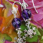 SALE Amethyst Snowflake Earrings with Sterling Silver accents