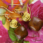 Gold Spiral Earrings with Stones