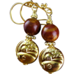 Gold Vermeil Earrings with Jasper Stones