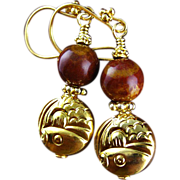 SALE Gold Vermeil Earrings with Jasper Stones