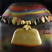 Artisan Earth Colors Necklace -  Jasper with Gold Accents