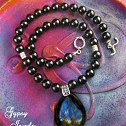 SALE Mystery Pendant Necklace of Black Onyx, Labradorite Stones and Sterling Silver