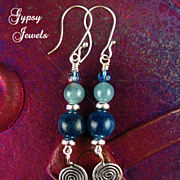 SALE Heavenly Teal Apatite gemstone Earrings with Sterling Spirals