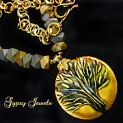SOLD Golden Tree Pendant Necklace with Jasper and Gold Accents - Red Tag Sale Item