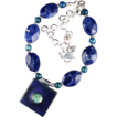 Blue Planet Pendant Necklace with Gemstones and Silver Accents