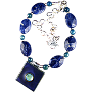 SALE Blue Planet Pendant Necklace with Gemstones and Silver Accents