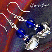 Winter Moon Earrings of Handmade Glass and Sterling Silver