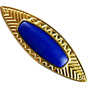 Vintage Monet Blue and Gold herringbone etched Pin