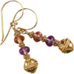 Fancy  Earrings - Amethyst and Citrine Gemstones with Gold Accents