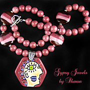 Picasso Influence Pendant Necklace with Kazuri Beads