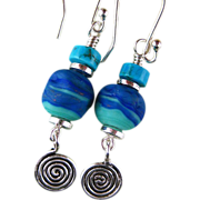 Blue Planet Earrings of Handmade Glass and Sterling