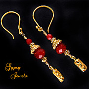 SOLD Daring Red Earrings with Gold Vermeil Accents - Red Tag Sale Item