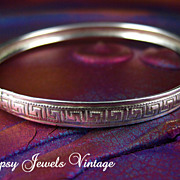 SOLD Vintage Danecraft Sterling Bangle Bracelet with Egyptian Pattern