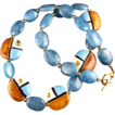Blue Heaven - Kazuri Bead and Zambian Aquamarine  Necklace