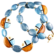 SALE Blue Heaven - Kazuri Bead and Zambian Aquamarine  Necklace