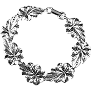Vintage Danecraft  Seven Leaf Bracelet of Sterling Silver