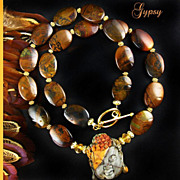 SALE Peaceful Harmony Necklace  - Semi-Precious Stones and Gold Vermeil