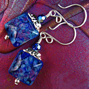 Blue Silk Earrings  - Lamp-work Glass and Sterling Silver