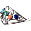 Vintage Navajo Crafted Cuff Bracelet - Sterling Silver and Gemstones