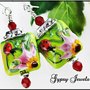 SOLD Happy Ladybug Earrings - Handmade Glass and  Swarovski Crystals