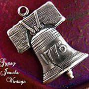 Vintage Pewter Liberty Bell Charm Celebrating 1776