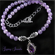 Elegant Necklace of Amethyst and Sterling Silver