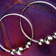 Vintage Silver Plated Circle Hoop Earrings
