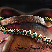 SOLD Vintage Rose Gold Vermeil Tennis Bracelet with CZ's in Emerald Green
