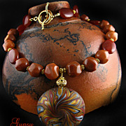 Lava Necklace with Carnelian agate, Gold Vermeil and Polymer clay