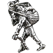 Vintage Sterling Silver Man With Load Charm