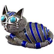 Vintage Chinese Silver Cat Pin with Blue Enamel and Turquoise Eyes