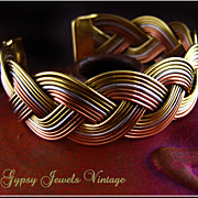 Vintage Gold, Silver and Copper tone Braided Cuff Bracelet