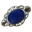 Vintage Sterling Filigree Pin with Blue Stone