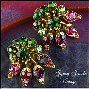 Fabulous Florenza Colorful Vintage Earrings