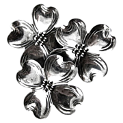 Dogwood Flower Trio Vintage Pin of Sterling Silver