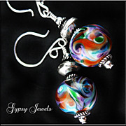 Cosmos - Earrings of Lamp-work Glass and Sterling Silver