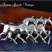Vintage Equestrian Pin with Three Horses