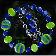 Timeless - Necklace of African Kazuri Beads and Lapis Gemstones