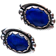 Vintage Lapis and Sterling Silver Signed Post Earrings