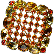 Brilliant Vintage Rhinestone Pin in Warm Colors