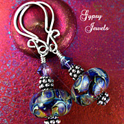 Cosmos - Artisan Earrings with handmade glass and Sterling Silver