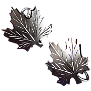 Vintage Signed Sterling Silver Maple Leaf Earrings