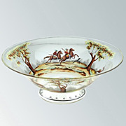 c.1930s Steinsc�nau Hand painted Historismus Glass Bowl With Hunting Scene