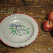 Sweet Old Enamelware Graniteware Childs Plate - Germany