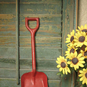 Charming Old Vintage Childs Metal Toy Shovel w. Red Paint
