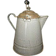 Grandmas Great Old Gray Graniteware Coffee Boiler w. Lid & Bail Handle