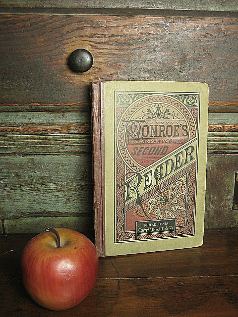 Superb Early Old Monroe's Second Reader Book ~ Philadelphia ~ Graphics